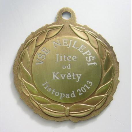 tištěný štítek na medaili